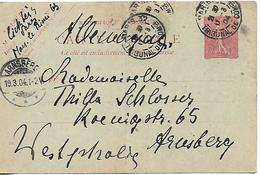 FRANCE 1904 PC Posted USED - Postal Stamped Stationery