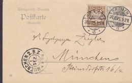 Bayern Uprated Postal Stationery Ganzsache Entier 2 Pf. (04) Antwort Response Answer BREMEN 1905 MÜNCHEN (2 Scans) - Entiers Postaux