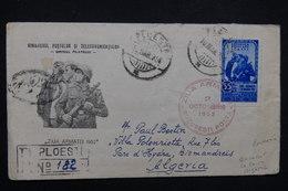 """ROUMANIE - Enveloppe FDC """" Zuia Armatei 1952 """" En Recommandé Pour Algérie - L 23675 - 1948-.... Républiques"""
