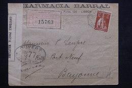PORTUGAL - Enveloppe Commerciale De Lisbonne Pour La France ( Bayonne ) En 1916 , Contrôle Postal - L 23676 - 1910-... République