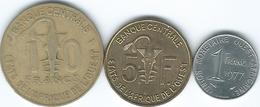 West AfrIcan States  - 1 Franc (1977 - KM8); 5 Francs (2011 - KM2a) & 10 Francs (1976 - KM1a) - Monnaies