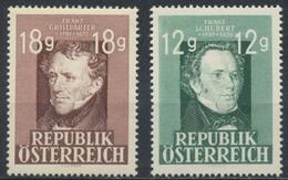 Timbres Neufs** D'autriche, N°663 Et 665 Yt,franz Grillparzer Et Franz Schubert - 1945-60 Neufs