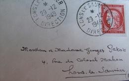 R1949/36 - 1949 - CENTENAIRE DU TIMBRE POSTE - N°830 Seul Sur ✉️ - ☉ : LONS LE SAUNIER - DIRECTION - 29 DEC 1949 - France