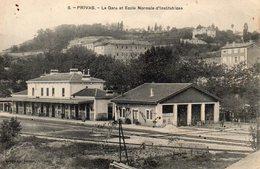 CPSM 07 ARDECHE PRIVAS - La Gare Et L'Ecole Normale D'institutrices - Circulé - Privas