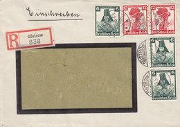 Germany Deutsches Reich WILLI FEINE Baumester Registered Einschreiben Label GÜSTROW 1935 Cover Brief 5x Volkstrachten - Allemagne