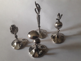 4 Marque Places De Table Argent 925 Unoaerre. Légumes, Champignons Miniature - Argenterie