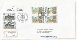 THEME EUROPE  CONSEIL DE L'EUROPE   CACHET PREMIER JOUR 28/04/1990 SUR LETTRE RECOMMANDEE - Cachets Commémoratifs