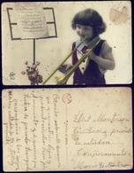 FLOWERS FLEURS - ENFANT - Fille Avec Clarinette Et Partition - France Postcard 1930's - Escenas & Paisajes