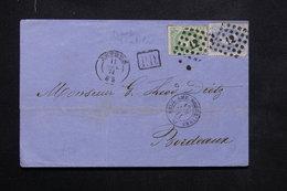 BELGIQUE - Lettre De Anvers Pour La France En 1871 , Voir Cachets Recto Et Verso , Affr. Avec Timbre Réutilisé - L 23692 - 1869-1883 Leopold II