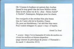 Estaimpuis (Hainaut) Néchin Poème Sur Auchan-Mulliez D'Armel Le Joué 2 Scans (CPM Format CPA) - Estaimpuis