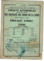 Chemin De Fer De Paris à Orléans / 1930 - Billet Aller/Retour Paris Quai D'Orsay à Tours -3 Scans - Titres De Transport