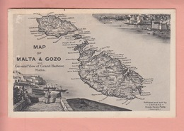 OLD POSTCARD   MALTA - GOZO - MAP - Malta