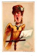 Chromo Imp. Appel, 1-2-9, Caricature, Femme Chanteuse Comme Oiseau, Oiseau Humanisé - Cromos