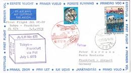 31978. Carta First Flight JL 671, TOKYO (Japon) 1975.  JAL Tokyo- Frankfurt Via POL - Airmail