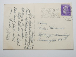 1943 , Würzburg - Mozart Fest , Maschinenstempel, Klarer Stempel Auf Karte - Allemagne