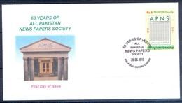 K258- FDCs Of Pakistan  60 Years Of All Pakistan News Paper Society (APNS). - Pakistan