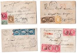 4 Enveloppes Chargées Ou Recommandées Affranchissements Multiples. Voir Détails - 1849-1876: Période Classique