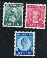 1949 12. Aug. Goethe Baden Mi DE-FB 47 - 49 Yt DE-FB 48 - 50 Sg DE-FB 47 - 49 Postfrisch Xx - Französische Zone