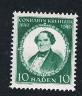 1949 27. Aug. 100 J. Conradin Kreutzer Baden Mi DE-FB 53I  Yt DE-FB 47  Sg DE-FB 53  AFA DE-FB 56 Postfrisch Xx - Französische Zone