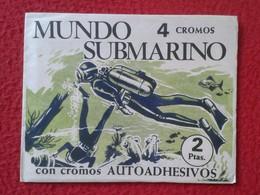 RARE ANTIGUO SOBRE DE CROMOS SIN ABRIR CERRADO OLD PACKAGE PACKET OF COLLECTIBLE CARDS SPAIN MUNDO SUBMARINO SUBMARINE - Documentos Antiguos