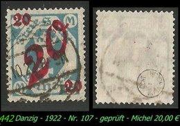 Mi. Nr. 107 - Gebraucht - Geprüft - DANZIG 5 K - Danzig