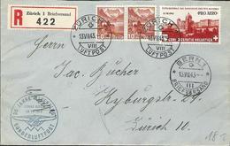 Schweiz Suisse 1943: PRO AERO 30 J.ALPENFLUG OSKAR BIDER Zu F36 Mi 422 Yv PA35 O ZÜRICH 13.VII.43 > BERN (Zu CHF 22.00) - Used Stamps