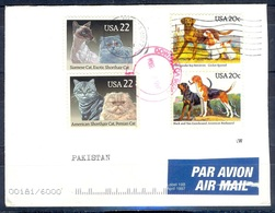 K271- Postal Used Cover. Post From USA To Pakistan. Animals. Dog. Cat. - Postal Stationery