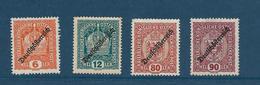 Timbres Neufs* D'autriche, N°171, 173, 181, 182 Yt, Surchargés 1918, Charnières - 1945-60 Neufs
