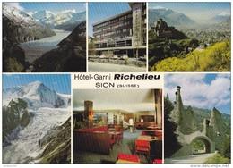 SUISSE - SION - Hôtel Garni Richelieu - Multivue - Scannée Recto Verso - Jonneret Martigny - Très Belle - - Hotels & Restaurants