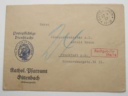 1937 , GÜTENBACH , Klarer Alter Stempel Auf   Brief - Allemagne