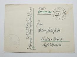 1940 , NAUMBURG  , Klarer Stempel Auf Feldpostkarte Mit Truppensiegel - Allemagne