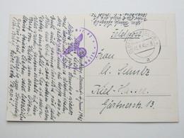 1942 ,  OLDENBURG, Klarer Stempel Auf Feldpostkarte Mit Truppensiegel - Allemagne