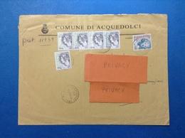 2001 COMUNI D'ITALIA BUSTA COMUNE ACQUEDOLCI MESSINA CON STRISCIA DI 4 DONNA NELL'ARTE LIRA EURO 0,05 + 0,05 + 0,52 - 2001-10: Marcophilia
