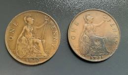 GRAN BRETAGNA  - ENGLAND  1930  Moneta 1 PENNY Giorgio V - 1 Penny & 1 New Penny