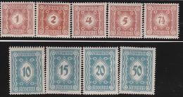 Timbres Neufs** D'autriche, N°102-110 Yt, Taxe, Dentelés - 1850-1918 Empire