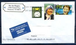 K340- Postal Used Cover. Posted From USA To Pakistan. Mother Teresa. Bird. Clock. - United States