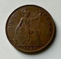 GRAN BRETAGNA  - ENGLAND  1936  Moneta 1 PENNY Giorgio V - 1971-… : Monete Decimali