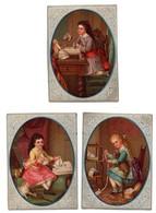Belle CHROMO 19ème Enfant Fille Fillette Jeu Jouet Poupée Chat Chien (3 Chromos) - Trade Cards