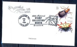 K357- Postal Used Cover. Posted From USA To Pakistan. Fauna. Insects. - United States