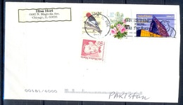 K358- Postal Used Cover. Posted From USA To Pakistan. Birds. Flowers. - United States
