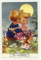 Couple D'enfants. Petit Chien, Lapin. Un Soir ... Au Clair De Lune. Signée Taylor. 3 Langues - Taylor