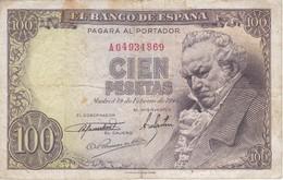 BILLETE DE ESPAÑA DE 100 PTAS 19/02/1946 SERIE A (BANK NOTE) GOYA - [ 3] 1936-1975 : Régimen De Franco