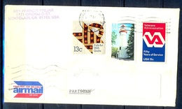 K365- Postal Used Cover. Posted From USA To Pakistan. Light House. - United States