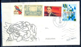 K372- Postal Used Cover. Posted From USA To Pakistan. Famous People. IT. Birds. Computer Technology. - United States