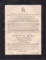 40-45 BERGEN BELSEN DORA Thierry Comte De BRIEY Prisonnier Politique 1895 - 11 Avril 1945 Service Religieux ETHE - Décès
