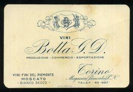 """VINO UVA - MOSCATO - TORINO - VINO - """"BOTTA G. D."""" Vini Fini Del Piemonte - Cartoncino Cm.12,5 X 8,5 - Italia"""