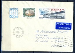 K388-  Postal Used Cover. Posted From Sverige Sweden To Pakistan. Animals. Train. Railway. Transports. - Autres