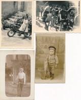 4 Photos : Portrait D'enfants Avec Jouet, Tricycle - Manège De Foire - Panier - Raquette De Tennis - Personnes Anonymes