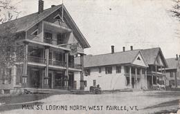 Vintage 1910 - West Fairlee Vermont - Street Scene - Written Stamp Postmark - 2 Scans - United States