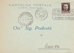 STORIA POSTALE - CREMONA - AMMINISTRAZIONE DEGLI ISTITUTI OSPITALI DI CREMONA - VIAGGIATA DA CREMONA PER ANNICCO ( CR ) - 1900-44 Vittorio Emanuele III